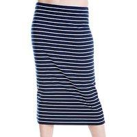 Max Studio Stripe Jersey Midi Skirt, Navy/White