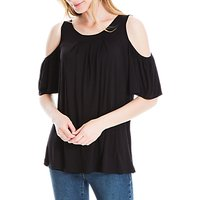 Max Studio Cold Shoulder Jersey Top, Black