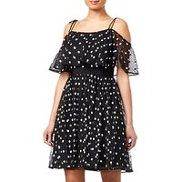 Adrianna Papell Spot Pleated Tulle Dress, Black/White