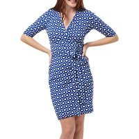 Sugarhill Boutique Marian Waves Wrap Dress, Blue/White