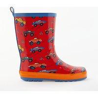 John Lewis & Partners Children's Monster Truck Wellington Boots, Red