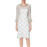 Gina Bacconi Misty Embroidery Dress, White/Black