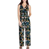 Yumi Tropical Wrap Jumpsuit, Black/Multi