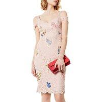 Karen Millen Floral Lace Dress, Pink/Multi
