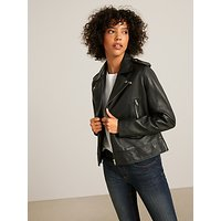 AND/OR Leather Biker Jacket, Black