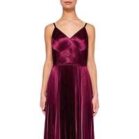 Ted Baker Pleat Satin Maxi Dress, Deep Purple