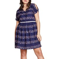 Yumi Curves Cold Shoulder Swimmers Summer Dress, Blue