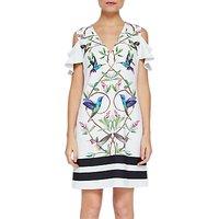 Ted Baker Emestin Highgrove Print Cold Shoulder Tunic Dress, White