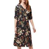 Sugarhill Brighton Alice Hand Drawn Floral Midi Dress, Black/Multi