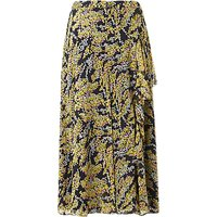 L.K.Bennett Kimi Frill Detail Skirt, Blue/Yellow