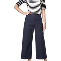 L.K.Bennett Ingrid Wide Leg Crop Trousers, Navy Sloane Blue