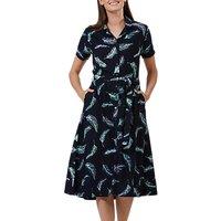 Sugarhill Brighton Batik Kendra Shirt Dress, Navy/Lilac