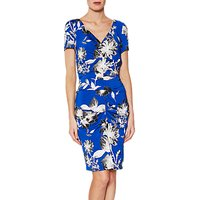 Gina Bacconi Paloma Floral Jersey Dress, Royal Blue