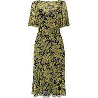 L.K.Bennett Holli Frill Detail Dress, Blue/Yellow