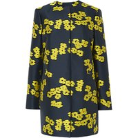 L.K.Bennett Sana Jacquard Coat, Blue/Yellow