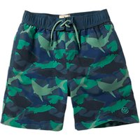 Fat Face Boys' Shark Camouflage Print Board Shorts, Navy