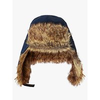 John Lewis Children's Ski Trapper Faux Fur Hat, Navy