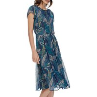 Brora Silk Chiffon Keyhole Dress, Indigo/Lemongrass