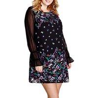 Yumi Curves Floral Shift Dress, Black