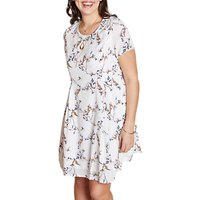Yumi Curves Bird On A Floral Vine Swing Dress, Ivory/multi