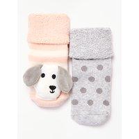 John Lewis & Partners Baby Dog Rattle Socks, Pack of 2, Multi