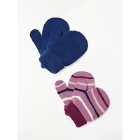 John Lewis & Partners Baby Magic Mittens, Pack of 2, Pink/Grey