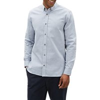 Jaeger Seersucker Long Sleeve Stripe Shirt, Mid Blue