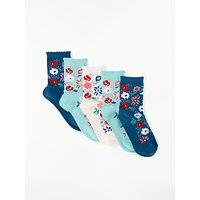 John Lewis & Partners Girls' Floral Print Socks, Pack of 5, Multi