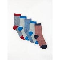 John Lewis & Partners Boys' Nautical Stripe Socks, Pack of 5, Multi