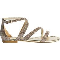 Karen Millen Glitter Flat Sandals, Gold