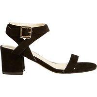Karen Millen Block Heel Strap Sandals, Black Suede