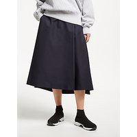 Kin Side Tab A-Line Midi Skirt, Navy