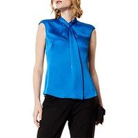 Karen Millen Strong Shoulder Drape Top, Blue