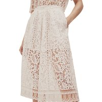 French Connection Arta Lace Culottes, Linen White