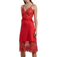 French Connection Delos Lucky Strappy Dress, Shanghai Red/Almond Nude