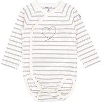 Polarn O. Pyret Baby Organic Cotton Stripe Heart Wraparound Bodysuit, Grey