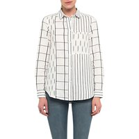 French Connection Maras Patchwork Shirt, Summer White/Black