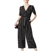 Karen Millen Soft Stripe Jumpsuit, Black/Multi