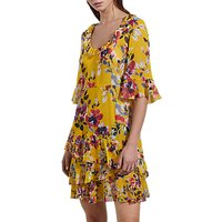 French Connection Linosa Crinkle Tiered Dress, Citrus