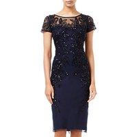 Adrianna Papell Short Sleeve Beaded Cocktail Dress, Midnight