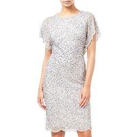 Adrianna Papell Flutter Sleeve Beaded Dress, Silver