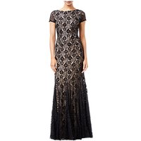 Adrianna Papell Beaded Long Dress, Black/Nude