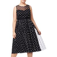 Adrianna Papell Plus Size Dot Tea Dress, Black/White