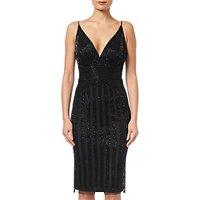 Adrianna Papell Beaded Short Dress, Black