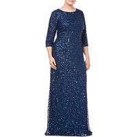Adrianna Papell Plus Size Beaded Mermaid Dress, Deep Blue