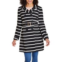 Yumi Stripe Trench Coat, Black