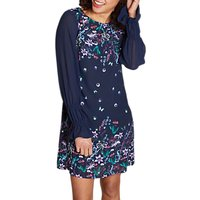 Yumi Sheer Sleeve Tunic Dress, Navy