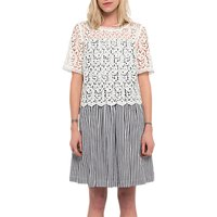 French Connection Sardinia Stripe Flared Dress, Black/Summer White