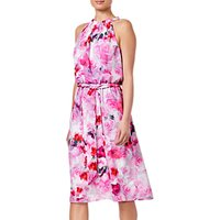 Adrianna Papell Blurred Roses Halter Dress, Pink Multi
