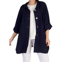 Chesca Textured Jacquard Coat, Navy